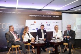 PANEL 4: «The Value of Corporate Governance for Non-listed Companies & SMEs». Ομιλητές στο πάνελ ήταν ο κ. Γιώργος Ξηραδάκης, Founder & Managing Director, XRTC Business Consultants, η κα Αννίτα Πακιουφάκη, Business Development Director, Optimal HR Group, ο κ. Χάρης Κυριαζής, ex Vice Chairman, SEV Hellenic Federation of Enterprises και ξη κα Χριστίνα Κολιάτση, Chief Legal Counsel, Hellenic Corporation of Assets and Participations SA. Συντονιστής του πάνελ ήταν ο κ. Χρήστος Κώνστας, Δημοσιογράφος, Head of Content, Ethos Media SA.